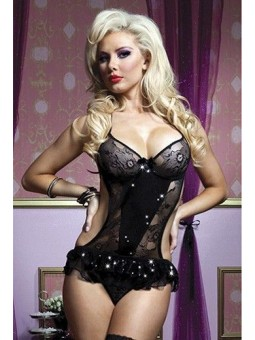 Black Sequin And Lace Teddy STM-9515P One Size