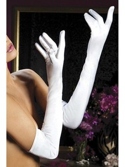 Opera Length Strech Satin Gloves Blancos